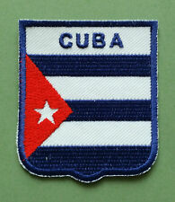 NATIONAL FLAG COUNTRY SHIELD SEW ON / IRON ON EMBROIDERED PATCH:- CUBA