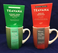 2 Starbucks Teavana Green & Black Tea Gift Sets Ceramic Coffee Cup Mugs 10 Oz