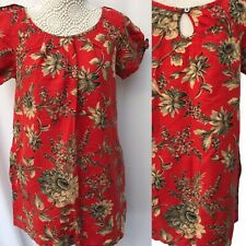 Joules Tunic 10 12 VGC Red/0range Flax Cotton Audrey K