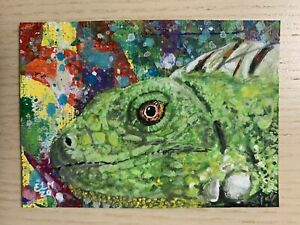 Original ACEO Acrylic Painting, Peek A Boo Iguana, Abstract, Expressionism, ELM