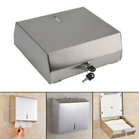 Home Fold Brushed Convenient Metal Paper Hand Towel Wall Dispenser Silver UK