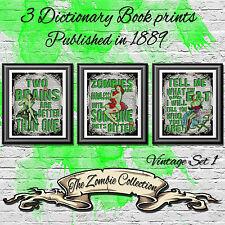 Zombie pin up de estilo Tatuaje Decoración de impresión vintage pared arte conjunto de imágenes Diccionario