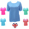 LADIES DESIGNER PLAIN EMBROIDERED T-SHIRT TOP COTTON RICH ROUND NECK SIZES 10-24