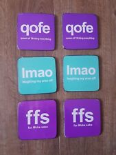 text speak novelty coasters  x 6 (set 1)