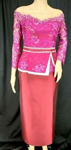 Cambodian Clothes Khmer  Two Pieces Burgundy Lace Korean Silk Skirt Women L