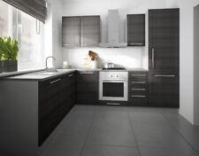 Küche Komplett Küchenzeile L-Form 140x250cm grau / fino schwarz 1615312