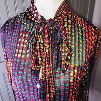 💖Monsoon Shirt Blouse Tie Bow Ladies Women's Top Size 10 VGC💖