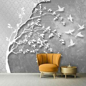 Vlies Fototapete BAUM 3D Wohnzimmer Vogel Abstrakt Modern Grau Ornament XXL 731