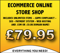 WEB DESIGN STORE SHOP SERVICE - UNLIMITED ITEMS - WITH HOSTING & PAYMENT SYSTEM