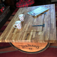 Recycled Half Whisky Barrel Coffee Table with Solid Oak Table Top