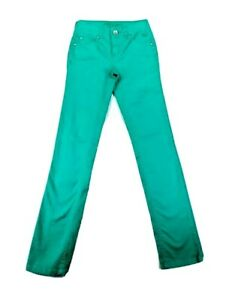Justice Jeans Girls Simply Low Green Skinny Stretch Denim Jeans Size 12S EUC