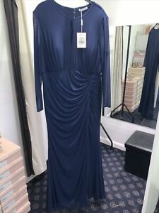 Gina Bacconi Navy Blue Rushed Long Sleeve Evening Gown Very Slimming 20 BNWT