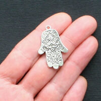 15 Hand Charms Antique Silver Tone 2 Sided Hamsa Hand Charms SC167