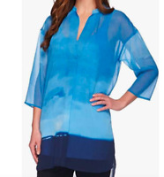 H by Halston Blue Ombre' Tunic with Knit Tank, Size Medium M   QQ65