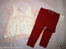GUESS Little Girls' 3-Piece Lace Top, Cami & Leggings Set 2T NEW NWT