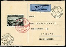 LIECHTENSTEIN GRAF ZEPPELIN CARD LAUSANE FLIGHT VADUZ 6/10/31 LAUSANNE TO SCHAAN