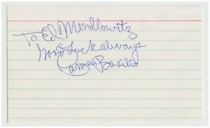 Boxer CARMEN BASILIO 56 wins from 1949-1961 SIGNED INDEX CARD AUTOGRAPH