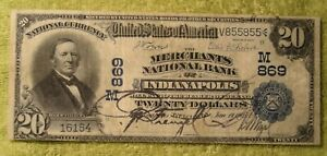 Merchants National Bank Note $20 1902 Date Back Repeater Indianapolis Indiana