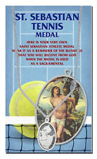 St.Sebastian, Tennis Silver Tone Medal with Chain, Keeping GOD in Sports