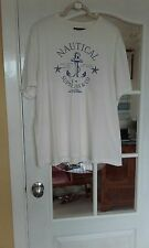"Southbay mens t/shirt size 44/46"" in off white with a blue pattern crew neck."