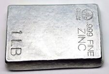 1 Pound .999 Fine Zinc Bullion Stacker Bar - Hand Poured - Hand Stamped