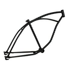 "26"" Twisted Bicycle Frame Black Lowrider Cruiser Bikes"