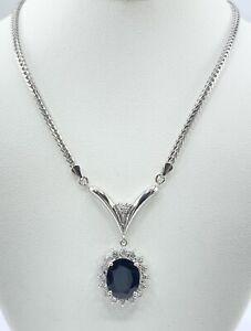 4.32 ct DIAMOND & SAPPHIRE halo dangle necklace SOLID PLATINUM( VIDEO)