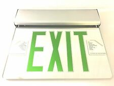 Green LED Exit Light Sign Edge Lit Mirrored with Backup $79.99 Retail