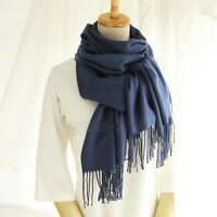 Fashion Women's Dark Blue 100% Cashmere Pashmina Solid Long Shawl Scarf Wrap