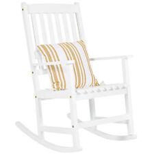 Outdoor Indoor Wood Rocking Chair Patio Porch Rocker - White
