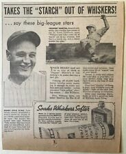 1937 newspaper ad for Williams Shave Cream - Lou Gehrig NYY, Pepper Martin St.L.