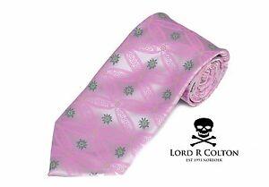 Lord R Colton Masterworks Tie - Silver & Pink Showbiz Silk Necktie - New