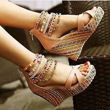Womens Fashion Sandals Wedge Heels Sandal Platform Open Toe Hollow Shoes Size
