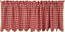 "Classic Country Red & Cream Plaid Cotton Window Valance 16"" x 72"" Scalloped Edge"