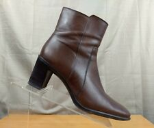 Antonio Melani Women's Ankle Boots Size 8A Brown Square Toe Zip Up Block Heels