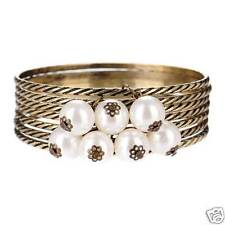Set of 7 Antique Look Bronze Bangles with a Single Pearl on each