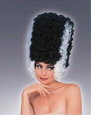 Womens Monster Bride Wig Tall Black & White Beehive Hair Halloween Costume Adult