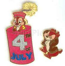 Disney Disneyland 4th of July Chip & Dale 2 Pin Set