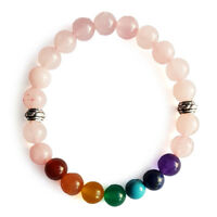 Natural Round Gemstone Chakra Rose Quartz Bracelet 8mm with Elastic Cord