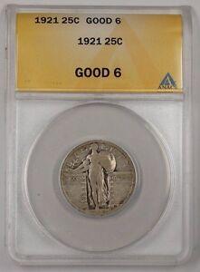 1921 Standing Liberty Quarter 25c Silver Coin ANACS G-6 (1)