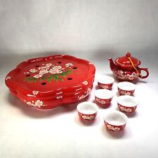 Chinese Porcelain Tea Set w/ Teapot Warmer, 6 cups, & Teapot -Handpainted Floral