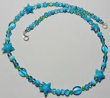 "22"" necklace, turquoise blue glass stars + beads mix"