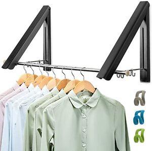 Wall Mounted Drying Rack, 2 Pcs Folding Clothes Hanger Coat Hanging Rail