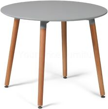 Eiffel Style 90cms Round Dining Table Grey With Natural Legs Veryslight2nds