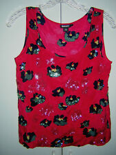 DKNY SILK TOP P XS NEW NWOT RED FLORAL SEQUINS BLACK GREEN