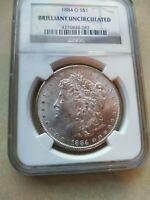 1884 Morgan Silver Dollar, New Orleans, Brilliant Uncirculated, 90% Silver
