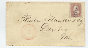 1860s North Andover Depot MA red DCDS with paid cancel #65 cover [5899.11]