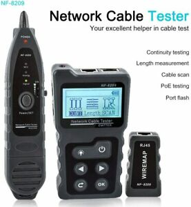 NOYAFA NF-8209 Network Cable Tester Tracker, 4 in 1 PoE Tester with NCV & Lamp