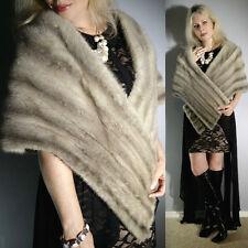 Vtg Sapphire Blue Silver Real MINK Fur Cape Stole Wrap Scarf Coat Jacket Wedding