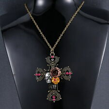 Mainstream Sweater Long Chain Jewelry Aantiquated Flower Skull Head Necklace Hot